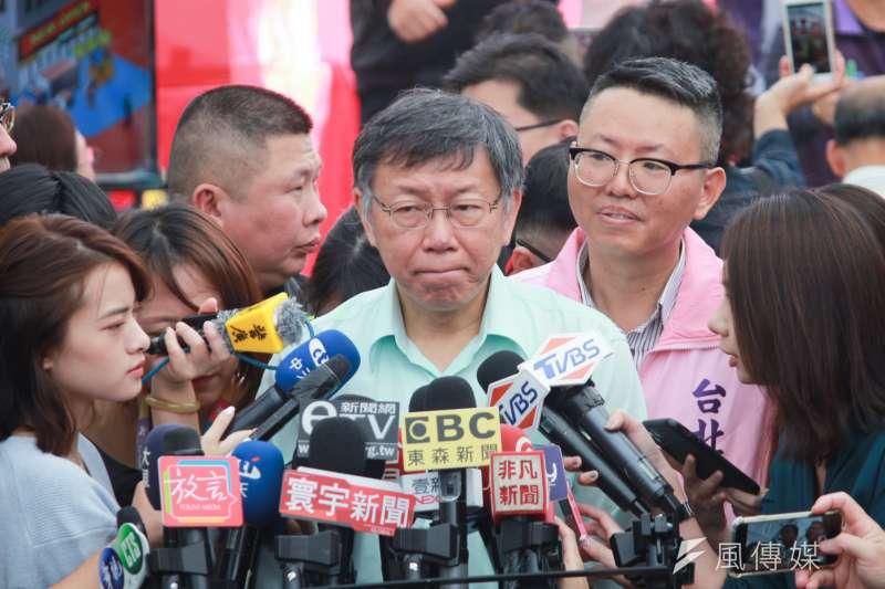 是否支持親民黨主席宋楚瑜選總統,台北市長柯文哲13日表示,僅表示「反正都會祝福」。(方炳超攝)