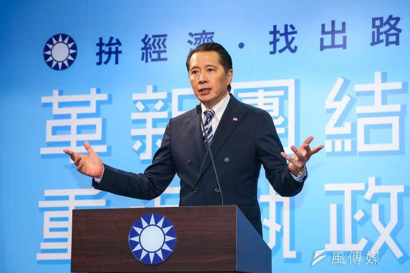 20191115-國民黨發言人歐陽龍15日於臨時中常會後召開記者會說明。(顏麟宇攝)