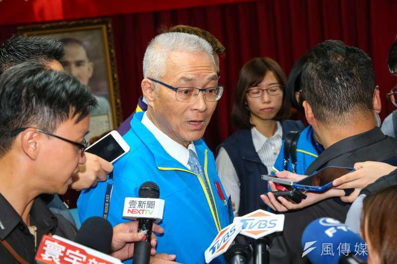 國民黨主席吳敦義認為這次國民黨的不分區立委名單兼容並蓄,是10年來最佳布局。(顏麟宇攝)