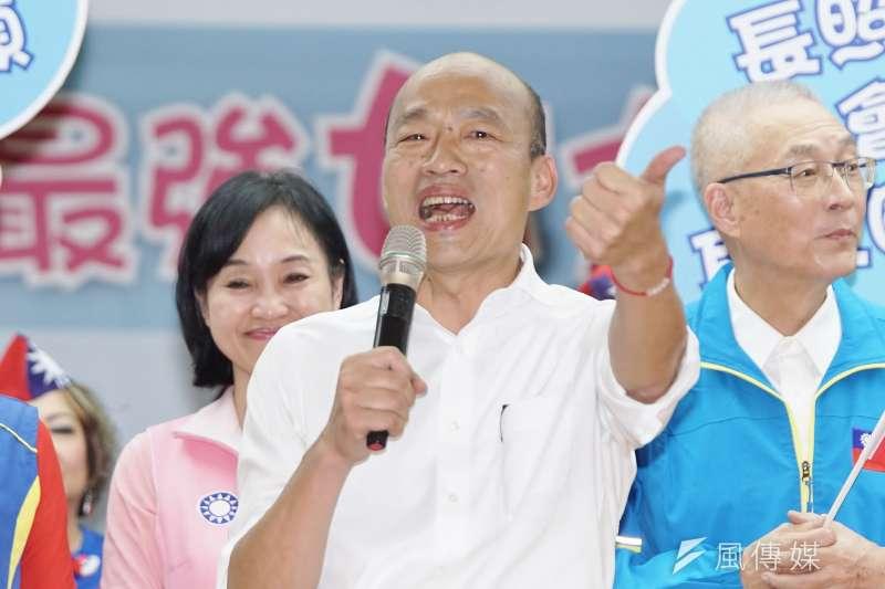 國民黨總統候選人韓國瑜(見圖)26日再拋金句,稱「得民心者得天下,得民調者則得痔瘡」。(資料照,盧逸峰攝)