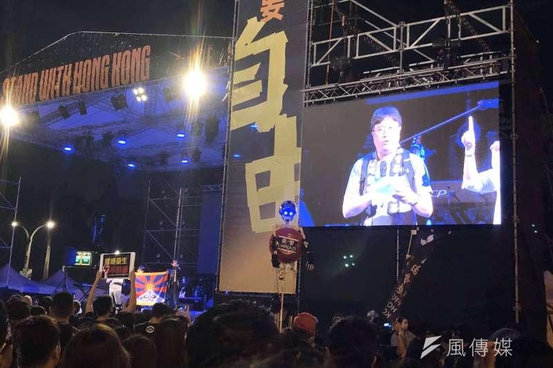 守民主護台灣大聯盟17日在自由廣場舉辦「撐香港要自由」演唱會聲援香港。(黃信維攝)
