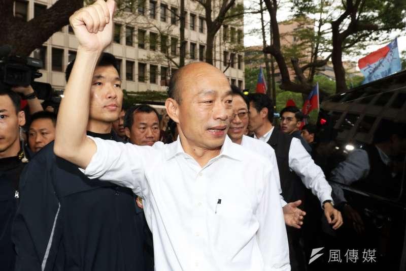 文化大學新聞系主任胡幼偉在臉書發文表示,對國民黨總統候選人韓國瑜(見圖)當選總統非常有信心。(資料照,蘇仲泓攝)