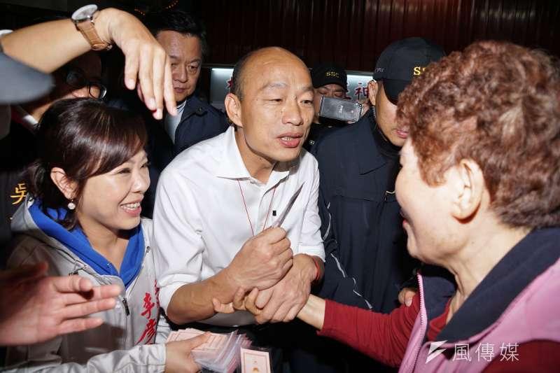 國民黨新北市立委候選人洪孟楷受訪表示,未來國民黨總統參選人韓國瑜(見圖)的支持度只會往上、不會往下,上升幅度端看韓國瑜能不能主導議題。(資料照,盧逸峰攝)