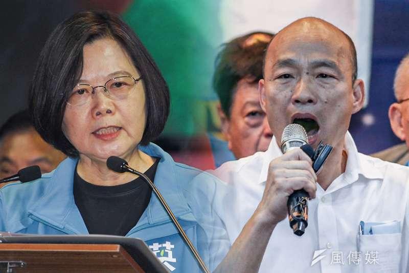 國民黨總統候選人韓國瑜(右)近日再向對手總統蔡英文(左)拋出辯論要求。 (資料照,蔡親傑、陳品佑攝/影像合成:風傳媒)