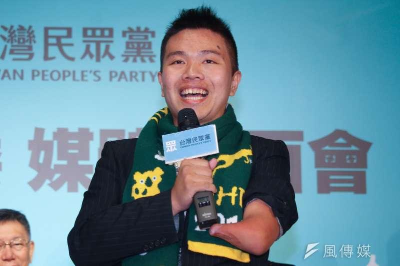 20191121-台灣民眾黨不分區立委提名人21日舉行媒體見面會,圖為第八提名人翔琪檸檬茶主理人詹翔欽。(蔡親傑攝)