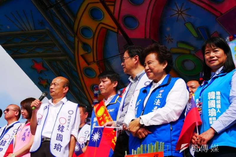 國民黨總統參選人韓國瑜23日中午到台中清水為立委候選人林佳新站台。(潘維庭攝)