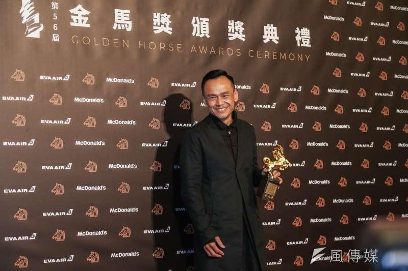 第56屆金馬獎頒獎典禮今晚頒獎,陳以文以《陽光普照》榮登影帝寶座。(簡必丞攝)