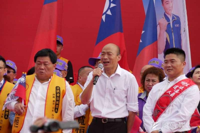 國民黨台南市議員謝龍介預估,國民黨總統候選人韓國瑜(見圖)只要在台南,不要輸總統蔡英文超過15萬票,就會勝出。(資料照,潘維庭攝)