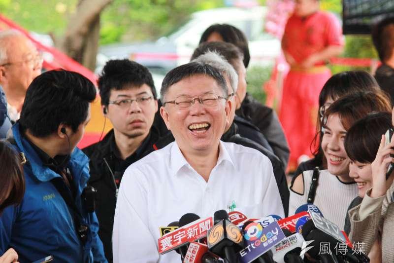 台北市長柯文哲26日上午出席和興水岸社會住宅統包工程開工典禮。(方炳超攝)