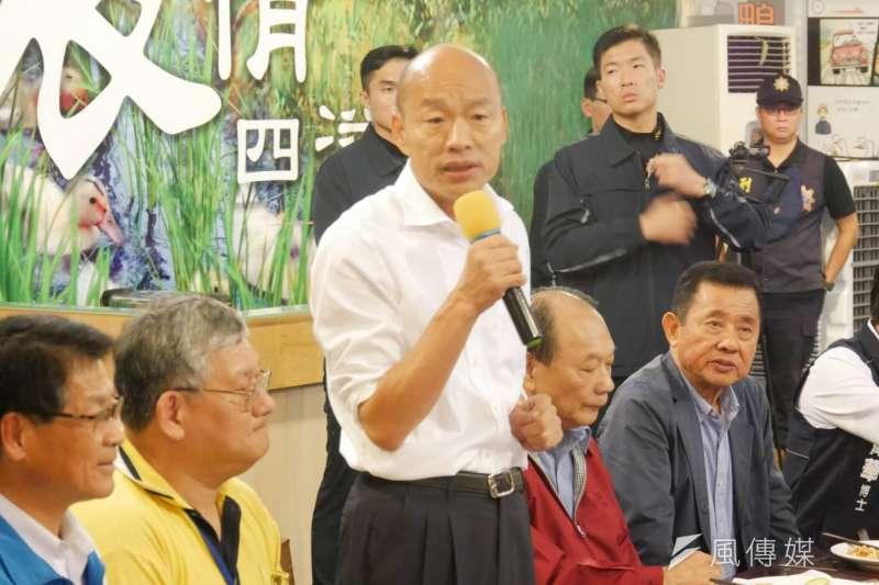 國民黨總統候選人韓國瑜(見圖)的傾聽之旅27日來到宜蘭,與青年、漁民進行座談。(潘維庭攝)