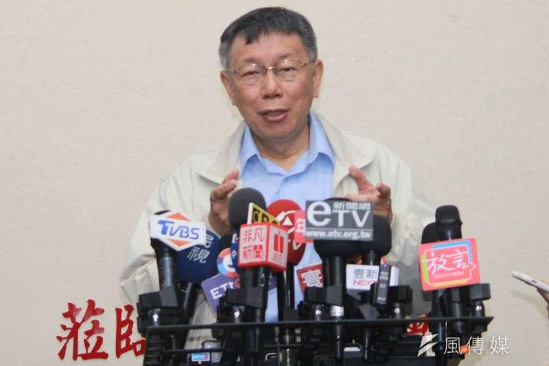 針對太陽花國賠案,台北市警察局一審敗訴,台北市長柯文哲27日表示,原則上應該會上訴。(方炳超攝)