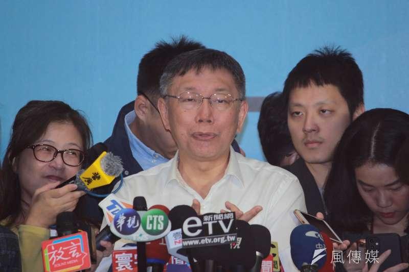 國民黨下令不分區立委提名人吳斯懷不准上節目,減少曝光。台北市長柯文哲(見圖)29日出席北市交通會報時酸,「乾脆截肢就好了嘛。」(資料照,方炳超攝)