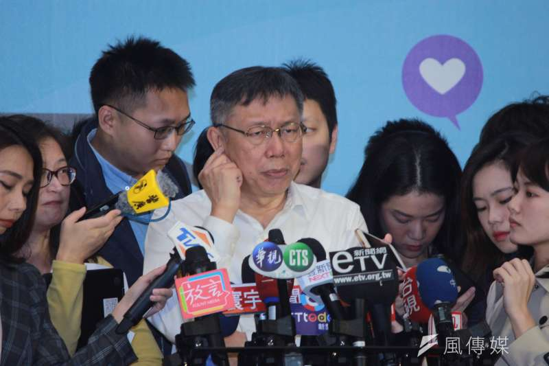 台北市長柯文哲28日上午出席2019科技輔具評選暨國際身心障礙者日慶祝大會,會後受訪。(方炳超攝)