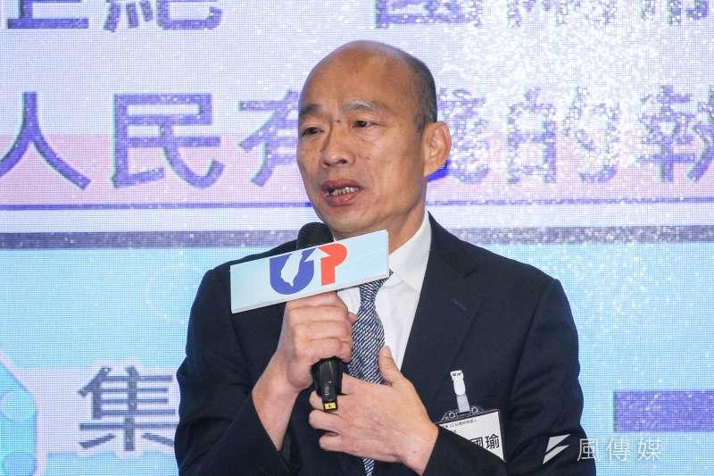 國民黨總統候選人韓國瑜再拋教育「第3支箭」,承諾未來45歲以下軍公教警消出國進修1年,費用由政府籌措。(蔡親傑攝)