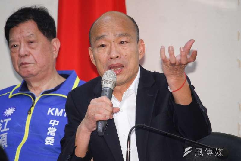 國民黨總統候選人韓國瑜(見圖),日前向支持者拋出「得民調者得痔瘡」、「拒答民調」等說詞,造成各界議論,更引發學者憂心民調失準。(資料照,蔡親傑攝)