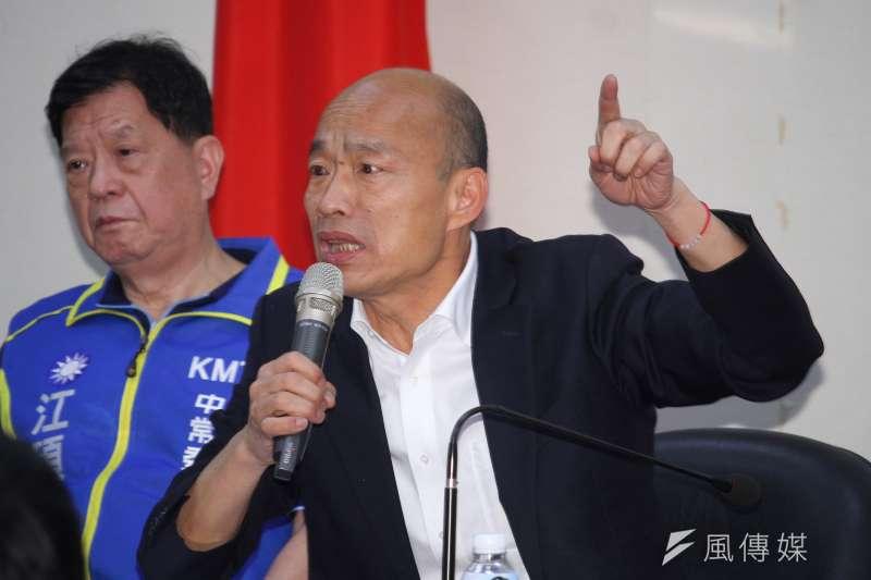 國民黨總統參選人韓國瑜堪稱今年政壇最大的網路霸凌之受害者。(蔡親傑攝)