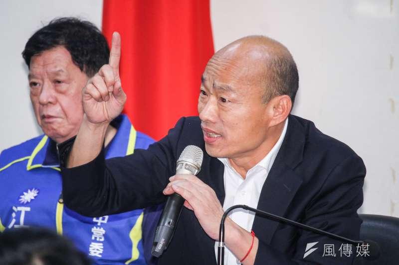國民黨總統候選人韓國瑜民調低迷,他反其道而行要支持拒答民調,或者唯一支持蔡英文,其實是一種阿Q行徑。(蔡親傑攝)