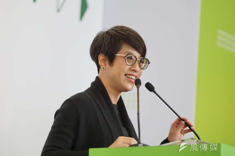 20191204-民進黨發言人李晏榕4日出席2020蔡英文總統連任全國律師後援會記者會。(盧逸峰攝)