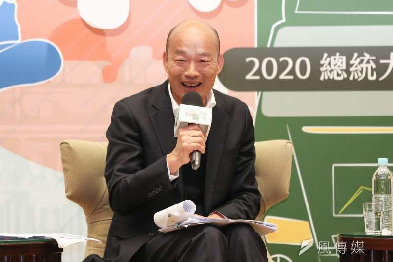 國民黨總統候選人韓國瑜5日參加「2020總統大選青年論壇」,對於同性婚姻問題,他認為應兼顧「願天下有情人終成眷屬」與家庭價值。(簡必丞攝)
