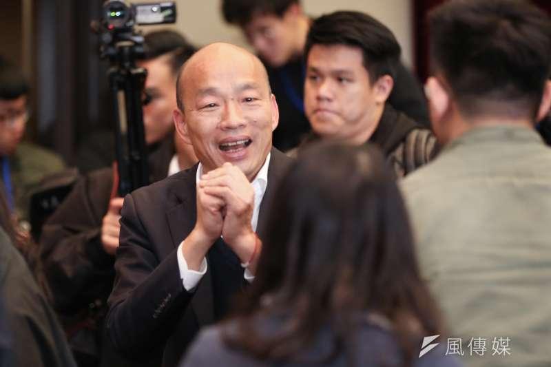 國民黨總統參選人韓國瑜以「蓋民調」忘却輸贏,只拚意志。(簡必丞攝)