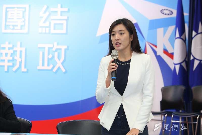國民黨總統候選人韓國瑜發言人何庭歡(見圖)被指「公然在臉書上造謠」,她提出澄清,並要求蔡英文團隊即刻公開道歉。(顏麟宇攝)