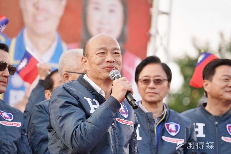 國民黨總統參選人韓國瑜(見圖)8日出席新北市聯合造勢活動。(盧逸峰攝)
