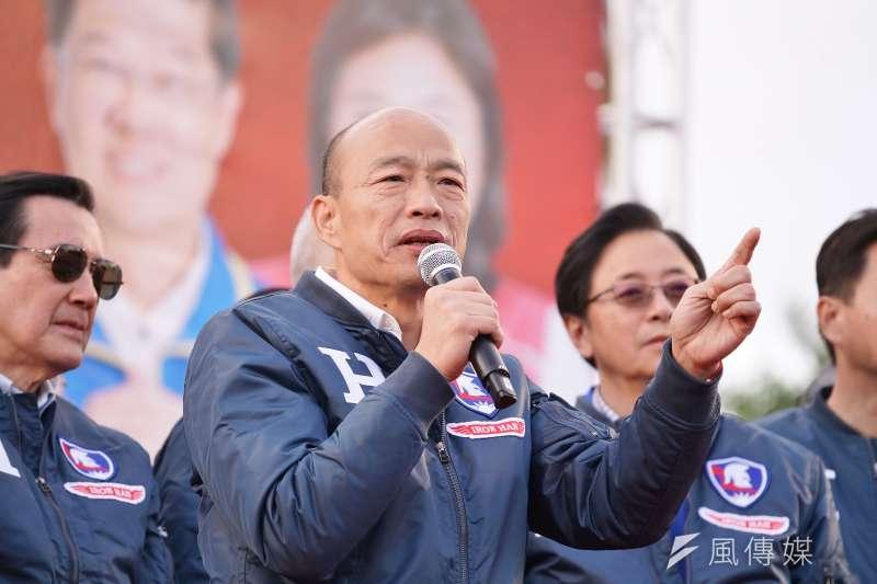 國民黨總統候選人韓國瑜(見圖)批評,蔡英文執政4年讓台灣人過得非常辛苦。(資料照,盧逸峰攝)