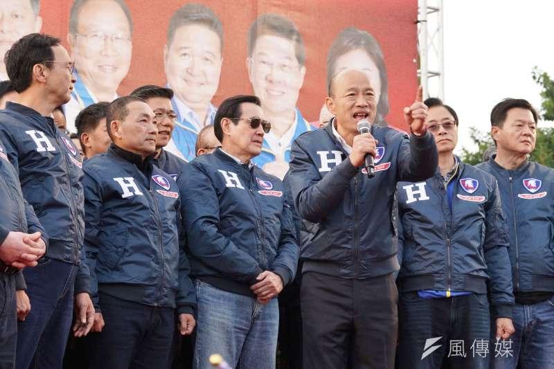 國民黨總統參選人韓國瑜8日出席新北市聯合造勢活動。(資料照,盧逸峰攝)