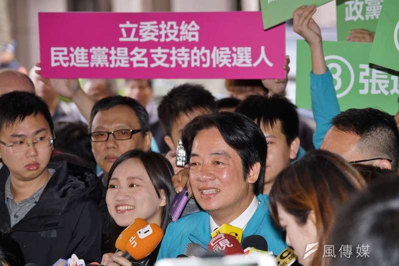 20191209-中選會9日舉行正副總統候選人號次抽籤,民進黨副總統參選人賴清德受訪。(盧逸峰攝)