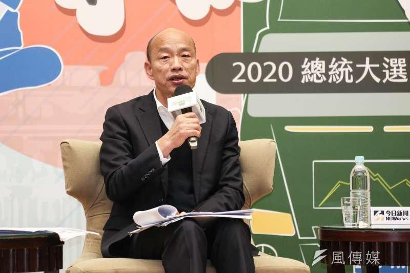名嘴鍾年晃在政論節目表示,國民黨總統候選人韓國瑜(見圖)如果輸300萬票,那他高雄市長的位置就會不保。 (資料照,簡必丞攝)