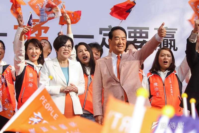 親民黨正副總統參選人宋楚瑜、余湘(左)全國競選總部10日成立。(蔡親傑攝)