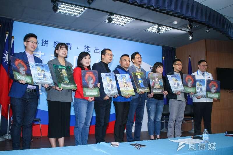 國民黨副總統候選人張善政與黨內多名青年代表齊開「天黑請閉眼已經四年,台灣人民2020睜大眼」記者會。(蔡親傑攝)