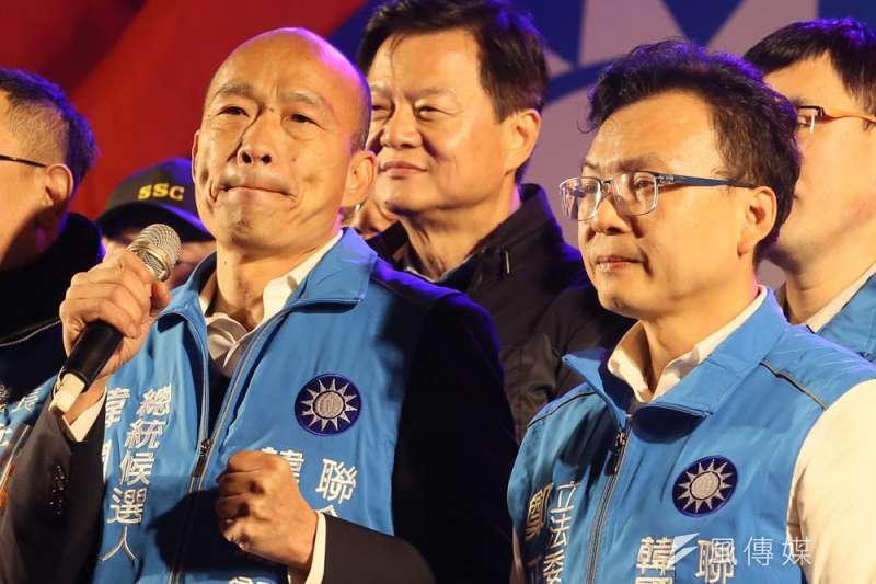 韓國瑜(左)呼籲韓粉抵制民調,苦了同黨立委候選人。(柯承惠攝)