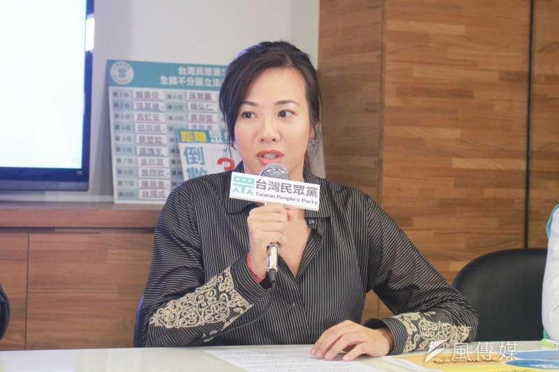 主打國家治理的台灣民眾黨11日召開政策記者會,說明民眾黨的長照政策。這也是不分區立委候選人吳欣盈(見圖)首次參與政策發表會。(方炳超攝)