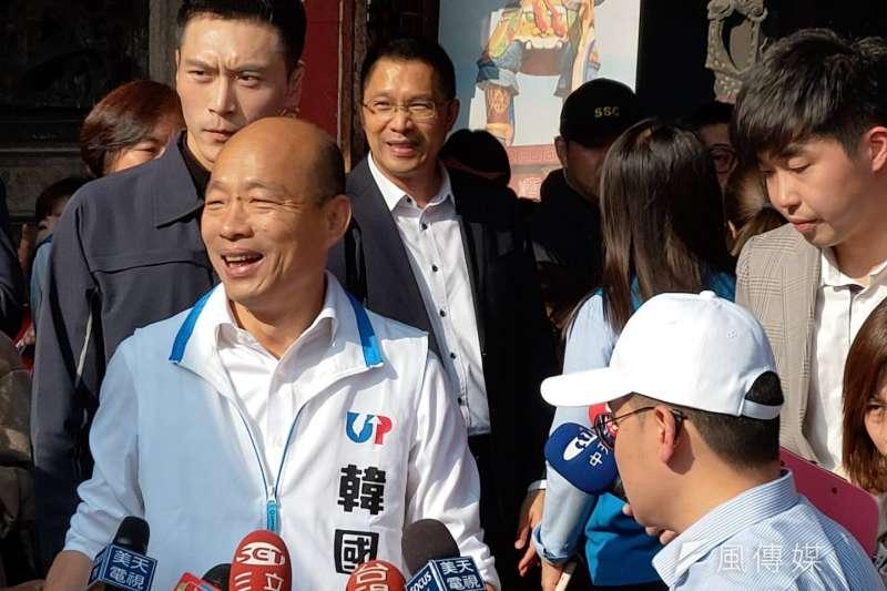 國民黨總統參選人韓國瑜12日回防老家雲林,針對花生之亂,批評農委會不可以變成花錢部門。(潘維庭攝)