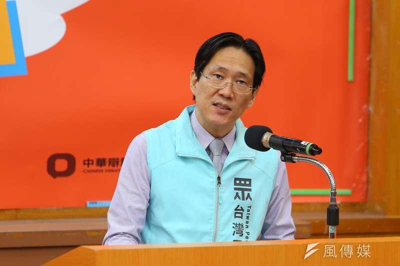 20191214-台灣民眾黨代表張其祿14日出席中華辯論推廣協進會舉辦政黨票辯論會。(顏麟宇攝)