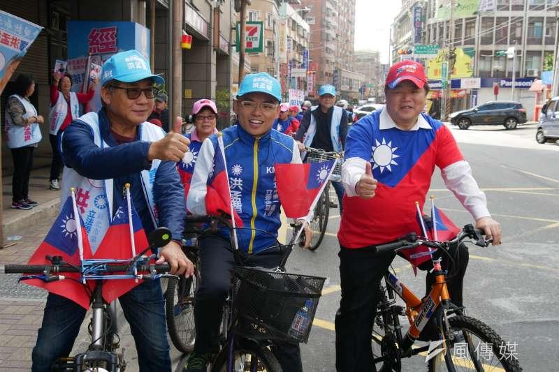20191214-國民黨新北市立委候選人洪孟楷14日上午在泰山區競選總部成立「熱血腳踏車隊」。(潘維庭攝)