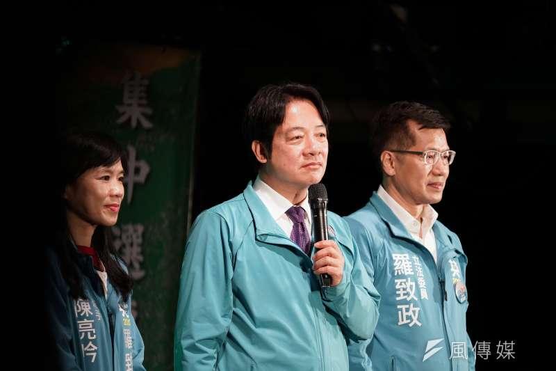 立委羅致政15日舉行護國保台灣造勢晚會,副總統參選人賴清德出席。(盧逸峰攝)