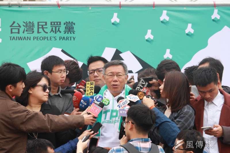 20191219-台北市長柯文哲19日上午出席台灣民眾黨不分區立委候選人「全台大眾走」起步記者會。(方炳超攝)