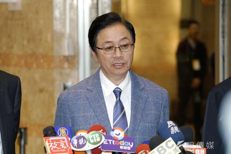 20191220-國民黨總統候選人張善政20日出席副總統電視政見發表會。(盧逸峰攝)