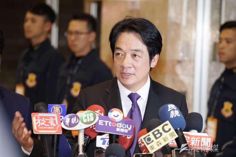 針對國民黨點名曾見過中國上海市統戰部長,民進黨副總統候選人賴清德(見圖)23日反批國民黨「不要打泥巴戰」。(資料照,盧逸峰攝)