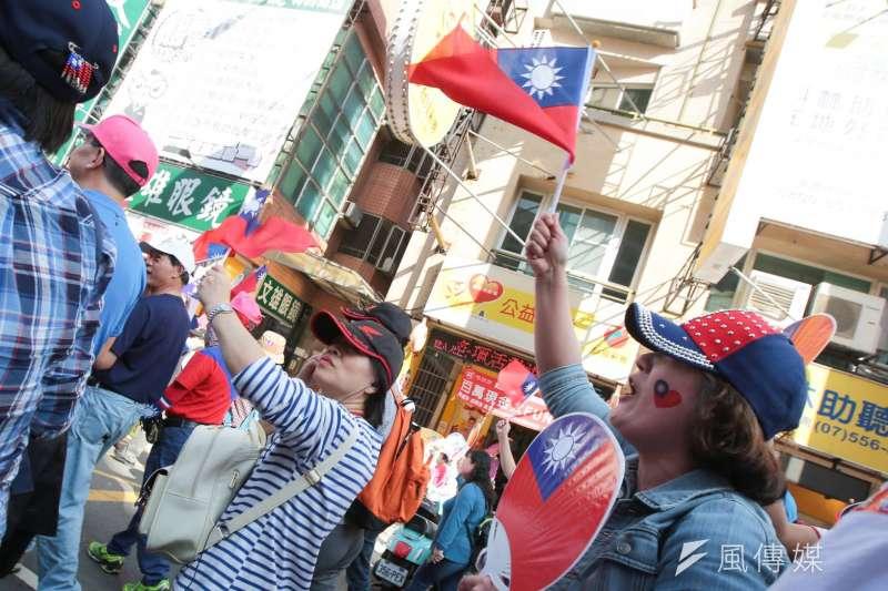 20191221-挺韓遊行21日上街,民眾紛紛展示國旗服裝。(顏麟宇攝)