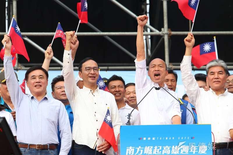 高雄市長韓國瑜(中右)罷免案在即,外界傳若韓國瑜被罷免,前新北市長朱立倫(中左)將參與補選。(資料照,顏麟宇攝)