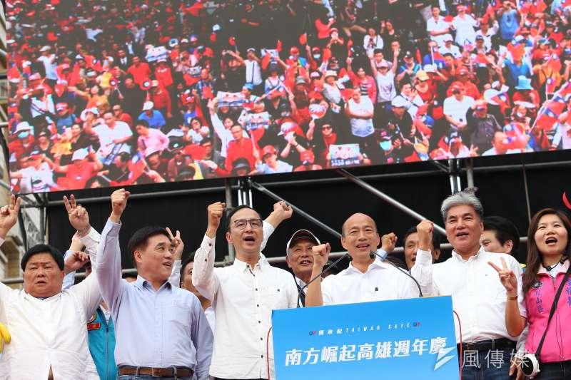 20191221-韓國瑜、朱立倫、郝龍斌、顏清標21日出席高雄挺韓遊行。(顏麟宇攝)