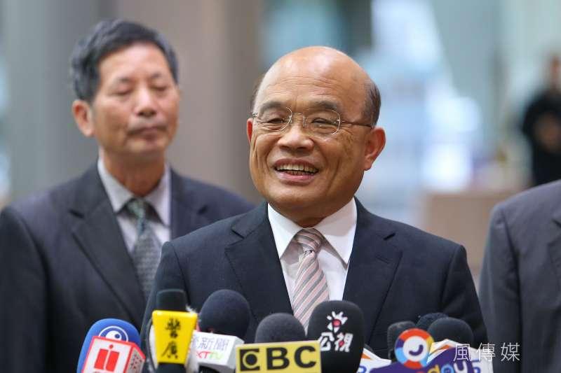 20191224-行政院長蘇貞昌24日出席第19屆公共工程金質獎頒獎典禮,並接受媒體聯訪。(顏麟宇攝)