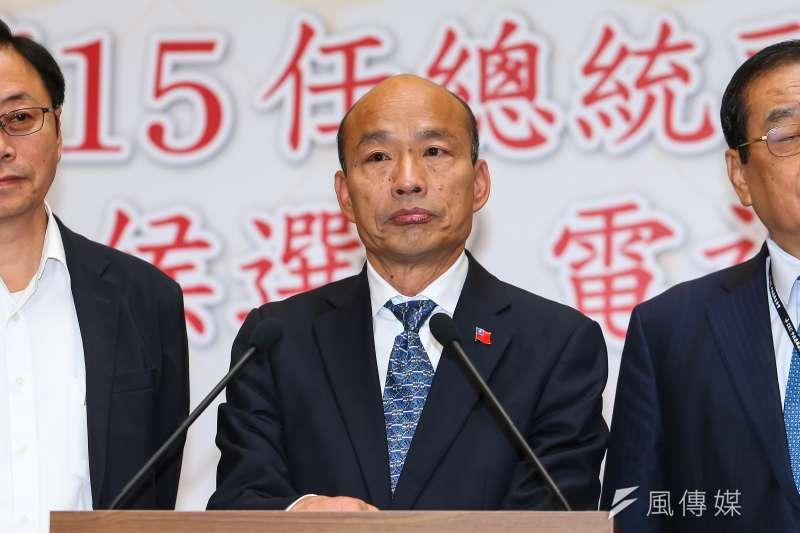駐日代表謝長廷指出,國民黨總統候選人韓國瑜(見圖)竟誤將民進黨命名者說成前立委林正杰。(資料照,顏麟宇攝)