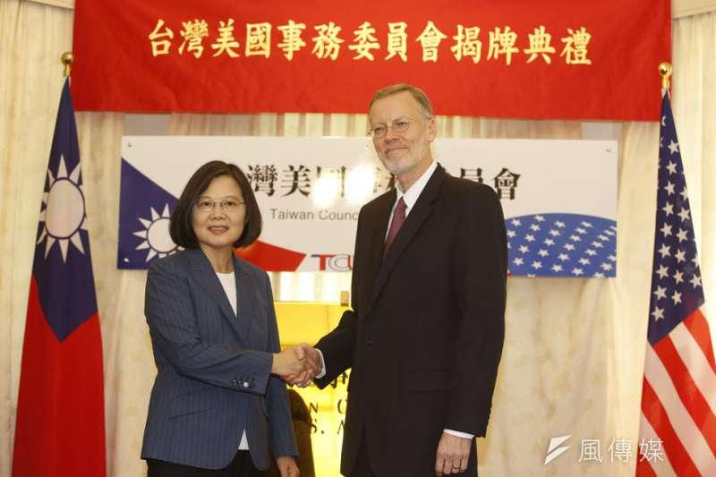 《台灣關係法》立法40周年,總統蔡英文出席「台灣美國事務委員會揭牌典禮」,台美關係創下新里程碑。其前身為「北美事務協調委員會」。(郭晉瑋攝)