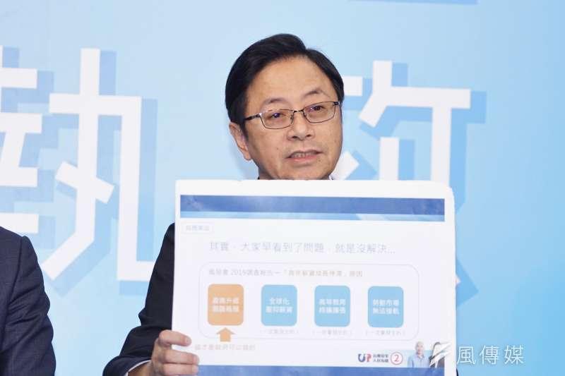 20191225-韓國瑜競選辦公室於25日召開「青年造台灣,台灣拼未來」記者會,副總統參選人張善政出席。(盧逸峰攝)