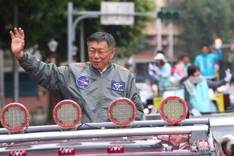 20191227-台灣民眾黨主席柯文哲27日出席「南北眾貫線」啟程記者會,並進行車隊掃街。(顏麟宇攝)