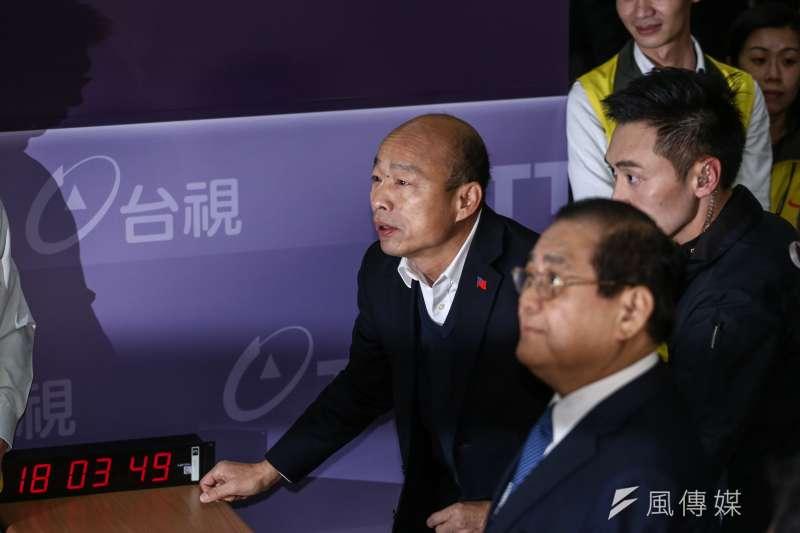 20191227– 第三場總統電視政見發表會,三位總統候選人入場畫面,總統參選人高雄市長韓國瑜。(陳品佑攝)